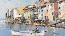 Branko Dimitrijevic, Fishermen, Oil on canvas, 20x40, £280