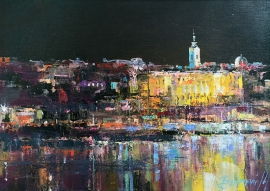 Branko Dimitrijevic, Belgrade by Night, Oil on canvas, 25x35cm, £290