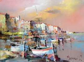Branko Dimitrijevic, Boats, Oil on canvas, 30x40cm
