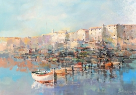 Branko Dimitrijevic, Croatian Coast, Oil on Canvas, 70x100cm, £1800