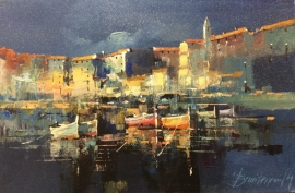 Branko Dimitrijevic, Night on the Coast, Oil on Canvas, 20x30cm