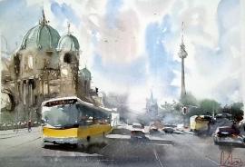 Dalibor Popovic Miksa, Berlin, Watercolour, 35x25cm