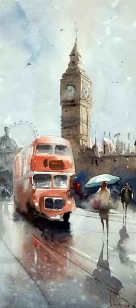 Dalibor Popovic Miksa, Big Ben, Watercolour, 41x19cm, £230
