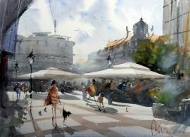 Dalibor Popovic Miksa, City Square, Watercolour, 43x31cm