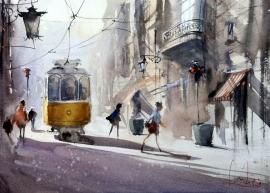Dalibor Popovic Miksa, Day in Lisbon, Watercolour, 32x23cm
