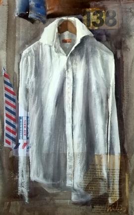 Dalibor Popovic Miksa, His Shirt, Watercolour, 39x24cm, £250