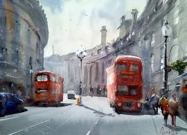 Dalibor Popovic Miksa, London Buses, Watercolour, 36x25cm, £230
