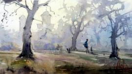 Dalibor Popovic Miksa, Morning Fog, Watercolour, 34x19cm