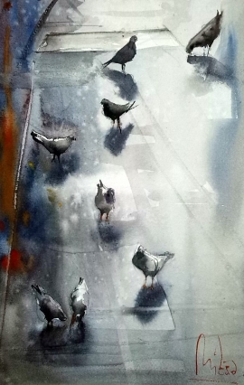 Dalibor Popovic Miksa, Pigeons, Watercolour, 30x20cm, £170