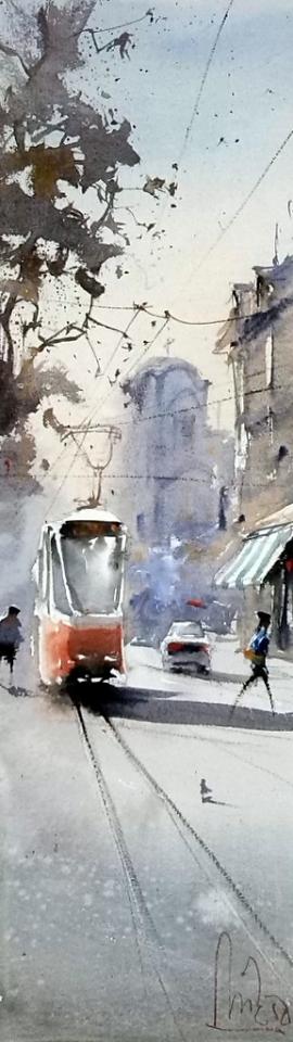 Dalibor Popovic Miksa, Red Tram, Watercolour, 46x13cm, £190