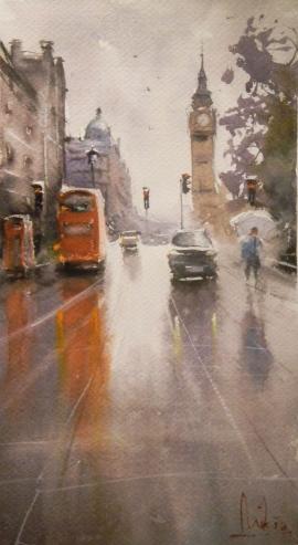 Dalibor Popovic Miksa, Big Ben, Watercolour, 35x20cm