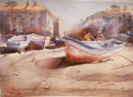Dalibor Popovic Miksa, Boats on the Coast, Akvarel, 35x25cm, £190