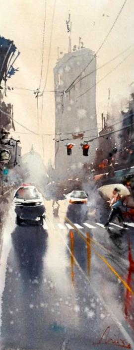 Dalibor Popovic Miksa, Belgrade in the Rain, 33x15cm, £150