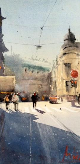 Dalibor Popovic Miksa, Street in the Sun, Watercolour, 33x16cm, £150