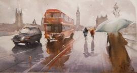 Dalibor Popovic Miksa, London in the Rain, Watercolour, 35x20cm