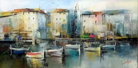 Deajan Slepcevic, Boats, Oil on canvas, 20x40cm