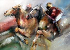 Dejan Slepcevic, Race, Oil on canvas, 70x100cm, £1650