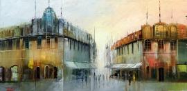 Dejan Slepcevic, Street, Oil on canvas, 20x40cm, £265