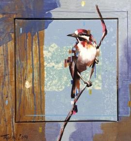 Dragan Petrovic Pavle, A Bird, Oil on canvas, 42x42cm, £440