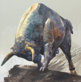 Dragan Petrovic Pavle, Raging Bull, Oil on canvas, 100x100cm, £1350