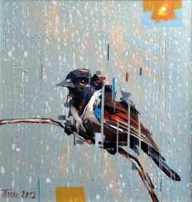 Dragan Petrovic Pavle, Bird, Oil on canvas, 25x25cm