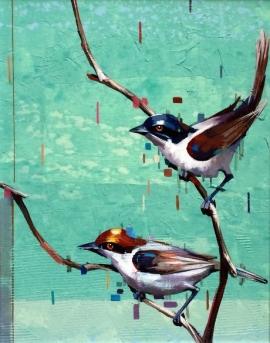 Dragan Petrovic Pavle, Birds, Oil on Canvas, 45x40cm, £440