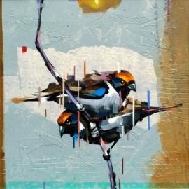 Dragan Petrovic Pavle, Birds, Oil on Canvas, 40x40cm, £440