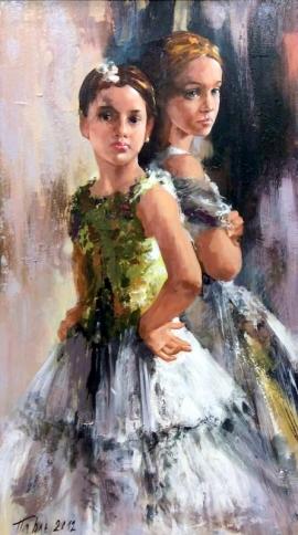Dragan Petrovic Pavle, Dancers, Oil on canvas, 90x50cm, £1350
