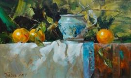 Dragan Petrovic Pavle, Oranges, Oil on canvas, 40x65cm