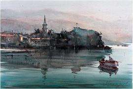 Dusan Djukaric, Budva - Montenegro Coast, Watercolour, 54x36cm