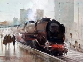 Dusan Djukaric, Old Maestro, Watercolour, 41x31cm
