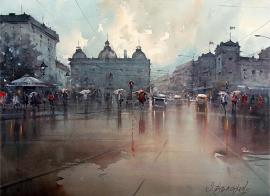 Dusan Djukaric, Rainy Day in Belgrade, Watercolour, 74x54cm