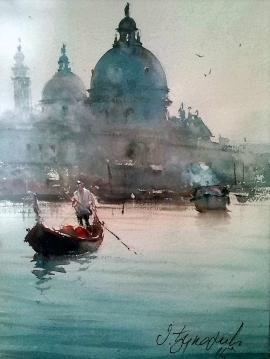 Dusan Djukaric, Venice Gondola, Watercolour, 33x24cm