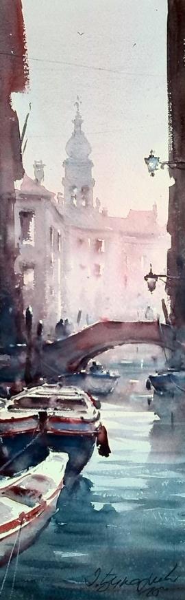 Dusan Djukaric, Venice, Watercolour, 54x17cm