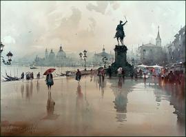 Dusan Djukaric, In Venice, Watercolour, 74x54cm