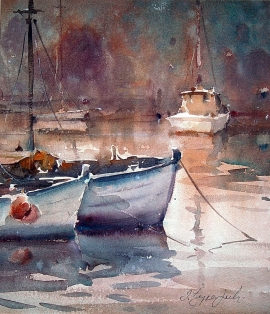 Dusan Djukaric, Boats in Norfolk, Watercolour, 30x35cm