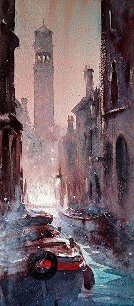 Dusan Djukaric, Morning in Venice, Watercolour, 40x30cm