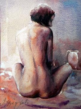 Dusan Djukaric, Nude, Watercolour, 30x20cm