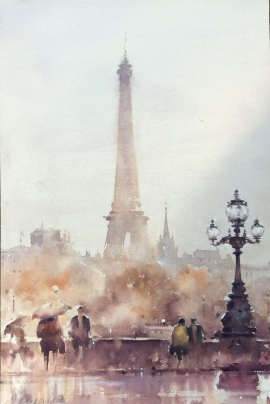 Dusan Djukaric, Paris in the Rain, Watercolour, 55x40cm