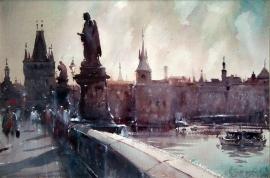 Dusan Djukaric, Prague, Watercolour, 40x55cm