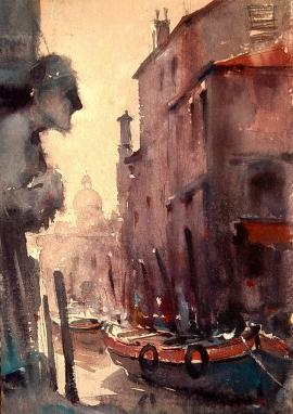 Dusan Djukaric, Venice Canal, Watercolour, 40x30cm