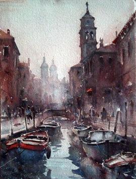Dusan Djukaric, Venice, Watercolour, 30x20cm