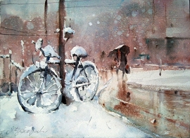 Dusan Djukaric, Winter Dream, Watercolour, 35x25cm