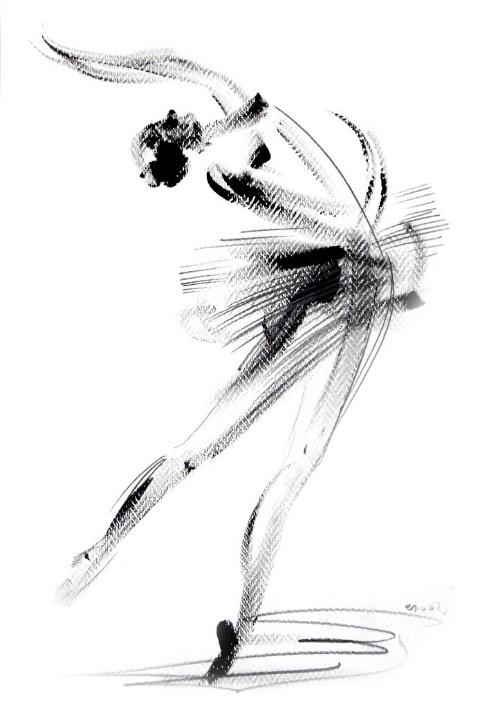 Душан Rajsic - балерина, смешанная техника, 50x35cm