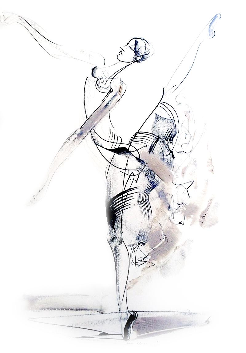 Душан Rajsic - балериной, смешанная техника, 50x35cm