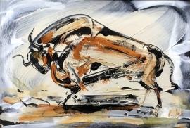 Dusan Rajsic, Bull, Oil on canvas, 35x50cm, £450