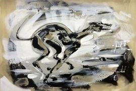 Dusan Rajsic, Racing Greyhound, Oil on canvas, 35x50cm, £450
