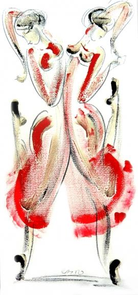 Dusan Rajsic, Dancers, Mixed Media, 43x23cm
