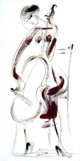 Dusan Rajsic, Cello, Mixed media, 40x20cm
