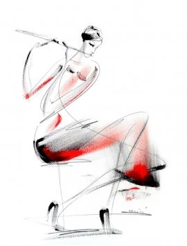 Dusan Rajsic, Flautist, Mixed media, 45x35cm
